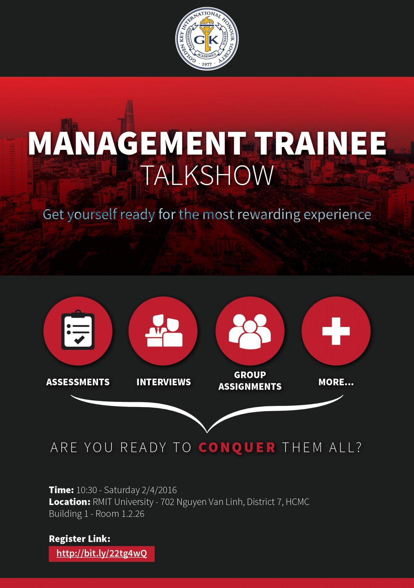 [HCM] Talkshow: Quản Trị Viên Tập Sự - Bệ Phóng Để Trở Thành Nhà Lãnh Đạo
