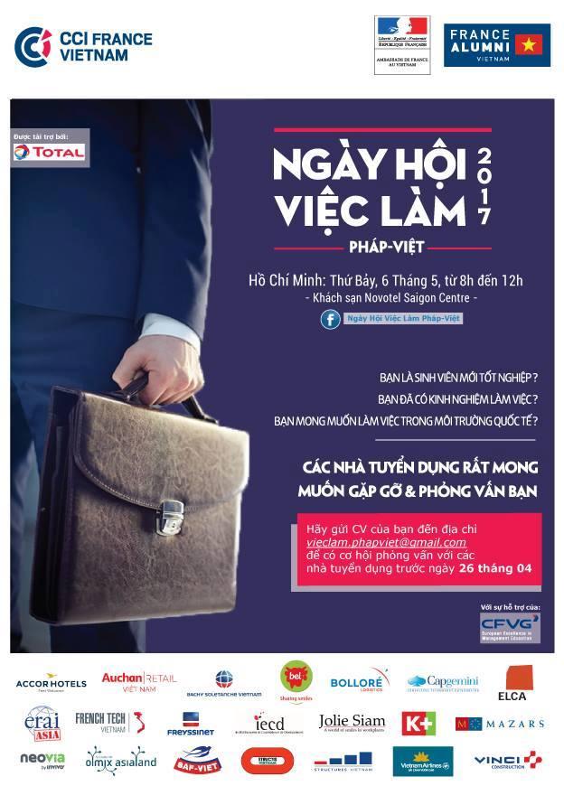 [HCM] Ngày Hội Việc Làm Khối Pháp Ngữ Do Đại Sứ Quán Pháp Và Trung Tâm Pháp Việt Đào Tạo Về Quản Lý Đồng Tổ Chức - Hơn 160 Việc Làm Tại 30 Doanh Nghiệp
