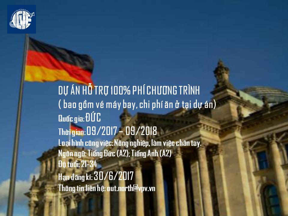 [Đức] Cơ Hội Tham Gia Dự Án Tình Nguyện Tại Đức Năm 2017 (Tài Trợ Toàn Phần)