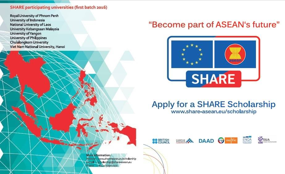 [EU-ASEAN] Học Bổng Toàn Phần SHARE Của European Union (EU) Dành Cho Các Nước ASEAN 2018