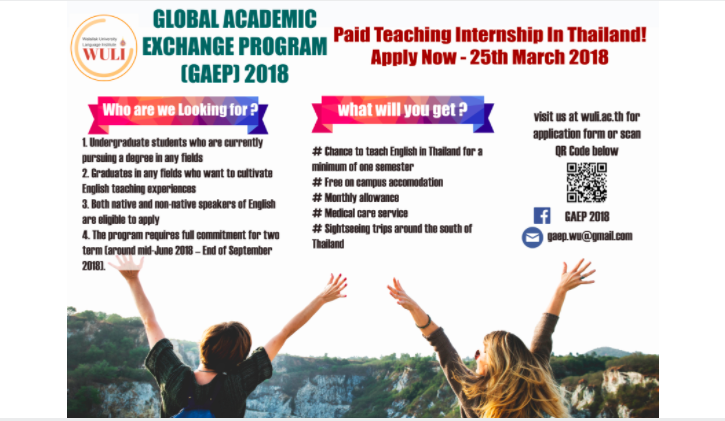 [Thái Lan] Cơ Hội Tham Gia Chương Trình Trao Đổi Sinh Viên Quốc Tế Global Academic Exchange Program 2018